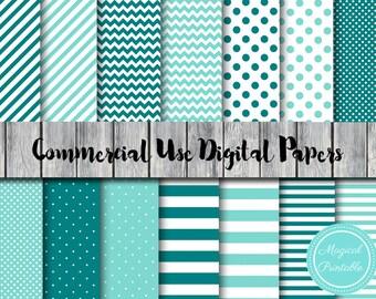 Teal Digital Papers, Aqua, Teal stripes, Chervon, Instant Download Digital Papers, Scrapbook Digital Papers, Digital Background, DP79