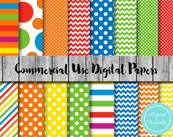 Rainbow Digital Paper, Rainbow dots Stripes Download Digital Papers, Commercial Use, Scrapbook Digital Paper, Digital Background, dp139