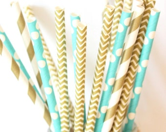 Blue and gold paper straws-set of 25-blue and gold paper straws, vintage straws, birthday parties, weddings, baby showers