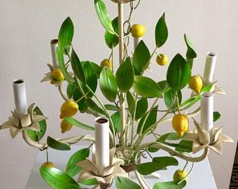 RESERVED** 1950's Lemon Tree Metal Vintage Tole Chandelier