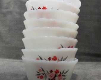 Group of 8 Fire King Primrose Fruit Cups / Desert Cups  6oz