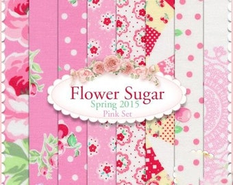 Flower Sugar Spring 2015 by Lecien - Pink FQ Bundle