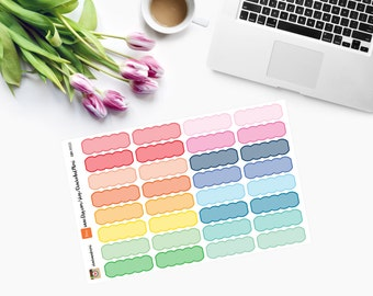Colourful SCALLOPED Event Stickers - CAM00121