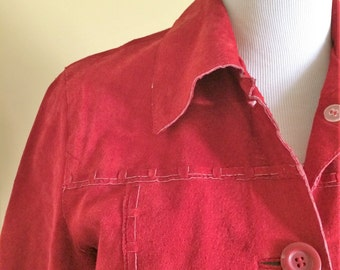 Red Leather Jacket/ Vintage Leather Jacket/ Vintage Red Jacket/ Vintage Red Leather/
