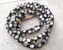 White & Black Dot Kenyan Bone Rondelle Beads