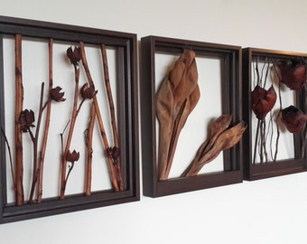 "Branch Art. Living wall. Branches / Leaves / Flowers series Set of three 8"" x 10"""