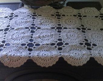 Vintage Hand Made Crochet Dresser / Table Runner / Floral / Starburst / Long