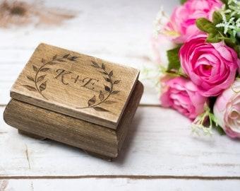 Personalized Ring Box Moss Wedding Rustic ring Holder Keepsake Shabby Chic Wedding RIng box