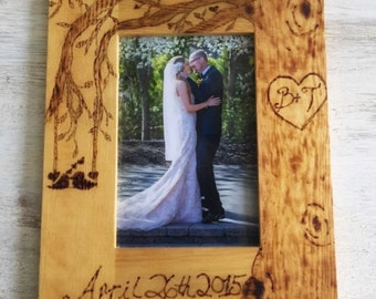 Personalized wood burned picture frame