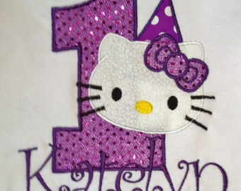 Purple Hello Kitty 1st Birthday Onesie Personalized