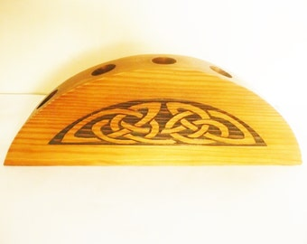 Celtic wooden candle holder, Celtic carved half-moon candlestick holder, Irish candle holder