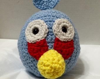 Crochet Angry Bird Blue 1, Amigurumi Angry Bird, Blue Angry Bird, Crochet Angry Bird