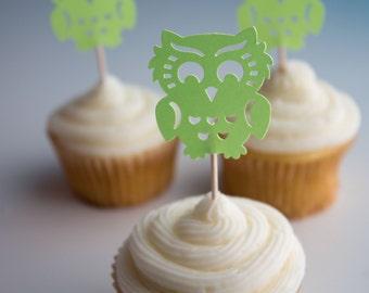 Lime Green Owl Cupcake Toppers, Owl Cupcake Toppers, Green Owl Cupcake Toppers (25 ct)