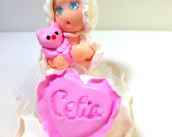Decoration baptism/figurine cake, doll, fimo, fact hand/custom/thumbnail/baptism/baby shower/cake birthday girl/birth