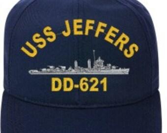 USS JEFFERS DD-621  Ball Cap   New Item