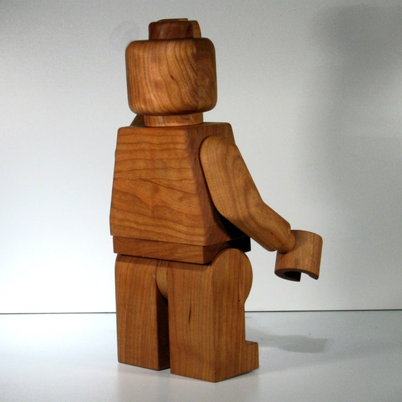 large wooden lego man sculpture cherry by morecowsthanpeople. Black Bedroom Furniture Sets. Home Design Ideas