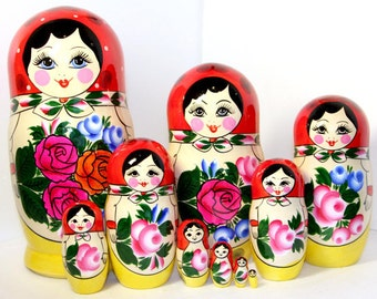 Russian dolls matryoshka. original dolls Semyonovskaya 10 psc.
