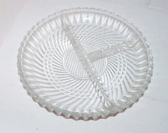 Clear Glass Divided Plate -  727