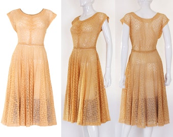 1950s Apricot Broderie Anglaise Dress