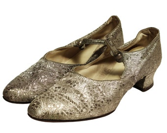Silver 1920s Brocade Shoes