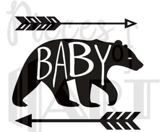 Baby bear iron on shirt decal