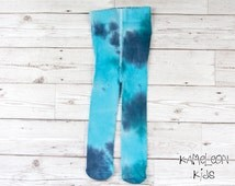Blue Baby Tights, Hand Dyed Cotton Sea Blue Tights up to 2 years - Kameleon Kids Baby Boutique