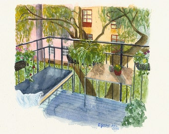 Artwork Watercolor Painting A4, Balcony Illustration Painting, Archival Art Print - The Balcony by Elisabeth Gecius