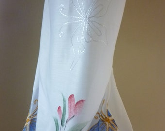 Embroidered Butterfly Scarf - Throw - Sarong-Pareo-Beach Coverup- Tablecloth