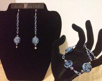 Earrings and bracelet set - Blue