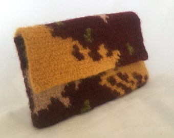 Harvest I Serenity Sack felted purse clutch medicine bag crocheted 9.25 x 5.5 inches fall colors
