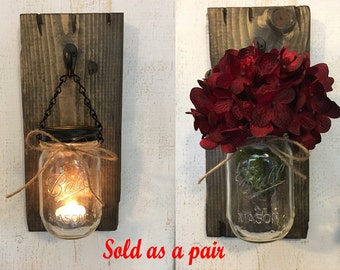 Decorative Wall Sconces For Flowers rustic wall sconces | etsy