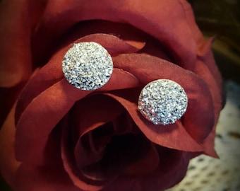 Light Silver Glitter Stud Earrings