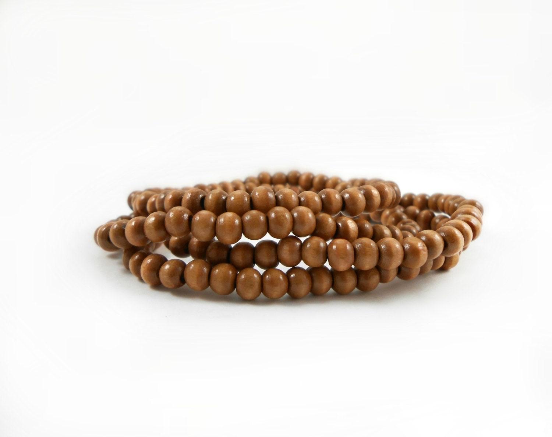 wood bead bracelet medium wooden bead bracelet strung