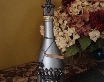 Fleur de lis, Home Decor, Glass Bottle, Crown, Key, crystals, decorative bottles
