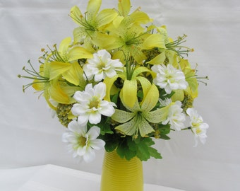 Yellow Tiger Lily Floral Arrangement: Yellow Tiger Lilies/Spring and Summer Floral/Everlasting Flowers/Table Top Floral/Silk/Faux Flowers