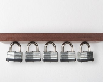 """Rackless – 12"""" floating shelf and magnetic key rack, made from solid Oak or Black Walnut"""