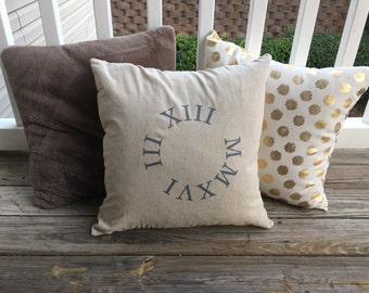 Roman Numeral in Circle Personalized Pillowcase 18 X 18