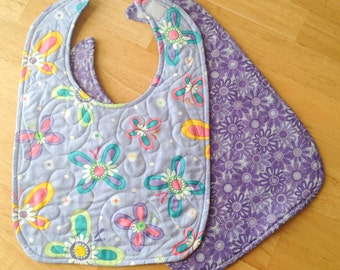 """quilted baby bib - purple butterfly print, 10"""" x 13 1/2"""""""