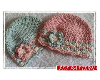 "PDF pattern in ITALIANO e US! Cappellino bimba a uncinetto "" Sunny Spring"" , Crochet baby girl hat ""Sunny Spring"""