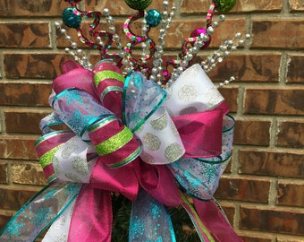 Large Christmas Tree Bow Topper - Lime Green, Aqua, Bright Pink, Silver, & White