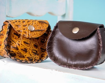 Small Leather Pouch Magnetic or Snap Closure