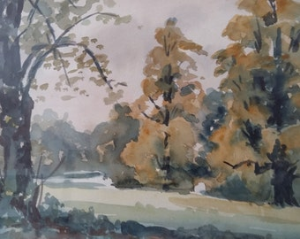 Woodland Landscape in watercolour, unsigned