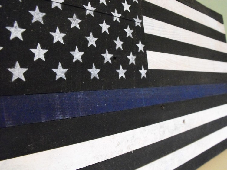 The Thin Blue Line Police Officer Flag Distressed By Hewnwoods