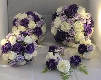 WEDDING BRIDAL BOUQUET Package. Purple Ivory Lilac  ***22 pieces***
