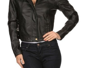 Black Combined solid knit and faux leather jacket
