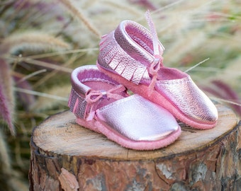 MARY JANE || Metallic Pink Moccasin