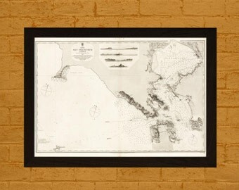 Old Map San Francisco Harbour 1856 Ancient Map  Art Antique Map Poster Old Map  Decor San Francisco Map