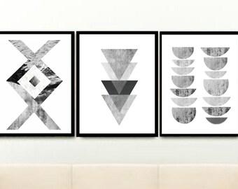 Grey Wall Decor, Scandinavian Art, Triptych, Set of 3 Prints, Minimalist Poster, Abstract Art, Art Prints, Giclee print, Wall Decor