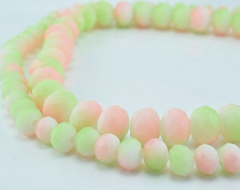 Matte Glass Beads Donut Rondelle Faceted for Jewelry Decoration Chandelier 4x6mm and 6x8mm. 2 Sizes Group 60 PCs ea Item#789222042912