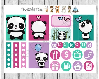 Weekly sticker set - kawaii pandas, cute animals - planner stickers
